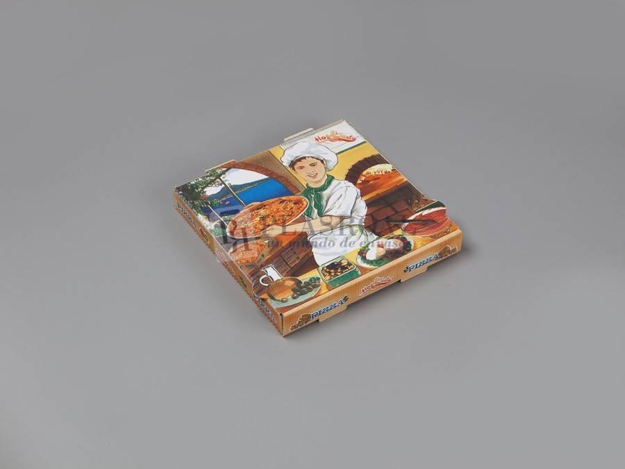 Caja cartón pizza decorada 26x26x3,5