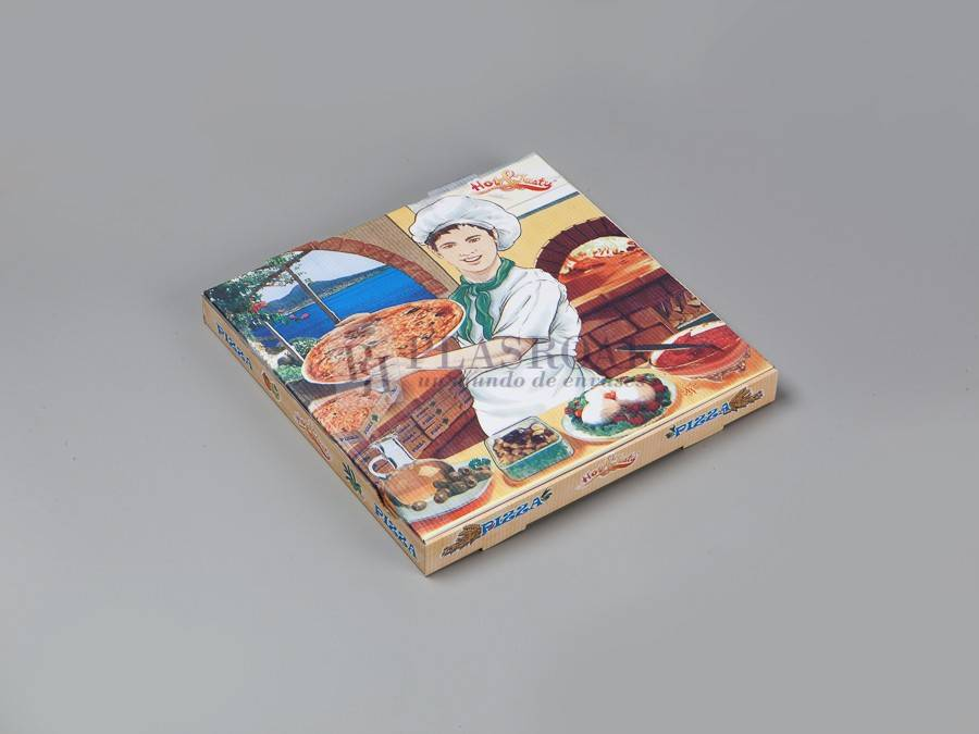 Caja cartón pizza decorada 33x33x3,5
