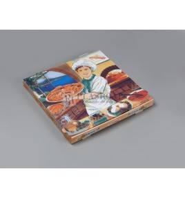 Caja cartón pizza decorada 40x40x3,5
