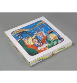Caja cartón pizza decorada 50x50x5
