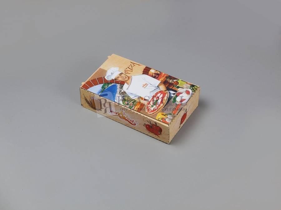 Caja cartón pizza decorada calzone 28x17x7