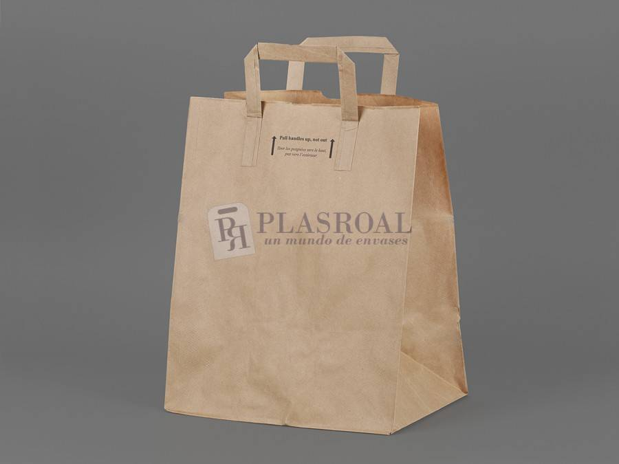 Bolsa take away kraft asa plana 26x20x32