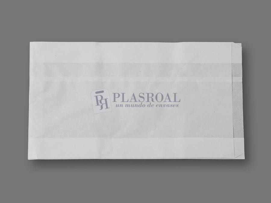 Bolsa de papel antigrasa blanca 23+ 8x41