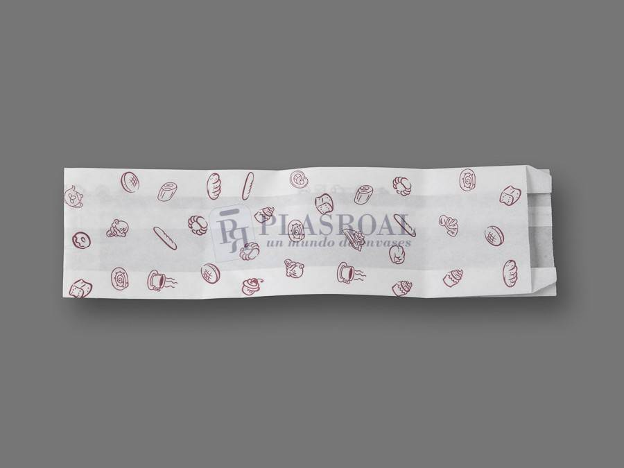 Bolsa de papel antigrasa blanca bocadillo 10+ 5x34
