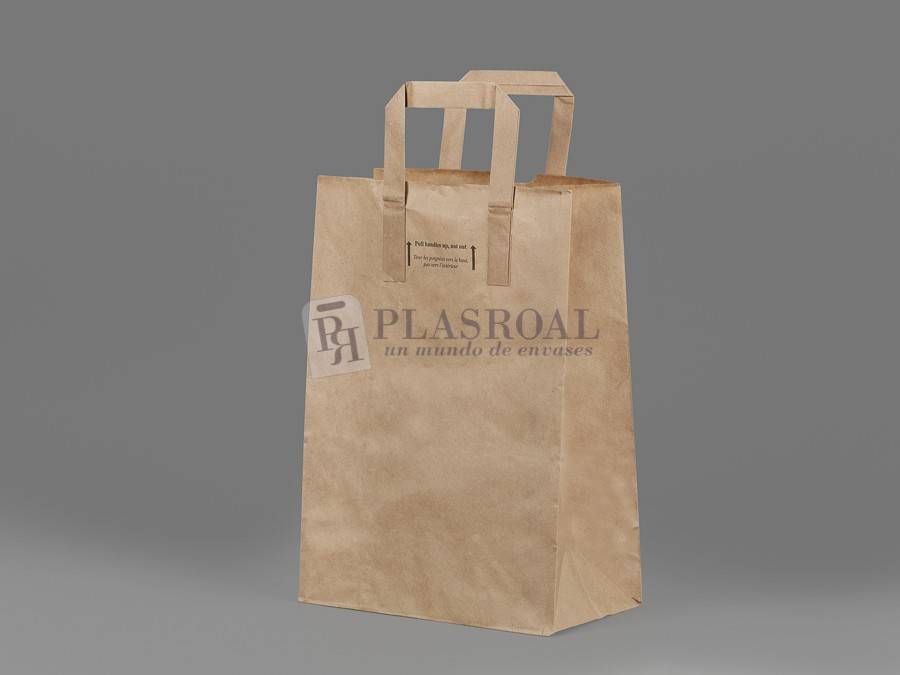 Bolsa take away kraft asa plana 22x12x30