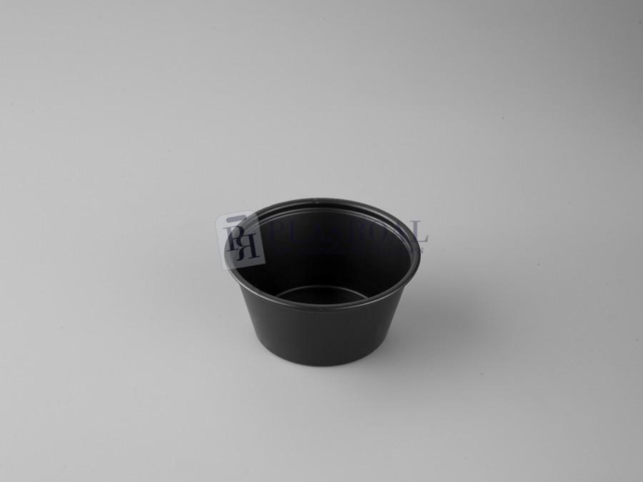 Tarrina plástico redonda ps negra 60cc. 2 oz.