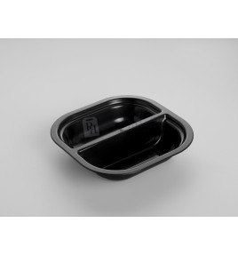 PLATO Q TERMOSELLABLE H40 PP INY. NEGRO 2 COMPARTIMENTOS