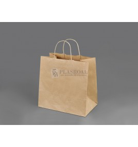 Bolsa Papel Take Away Kraft Asa Retorcida 27x16x26,5